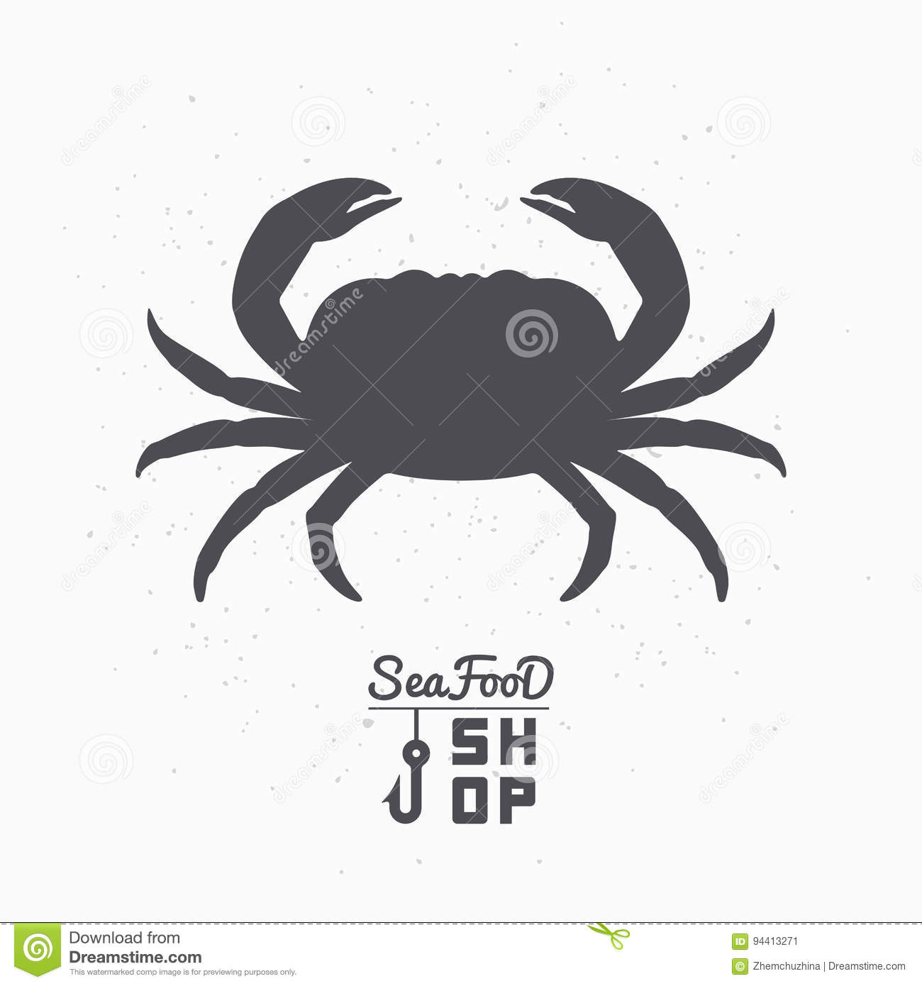 Crab Silhouette Seafood Shop Branding Template Stock Vector