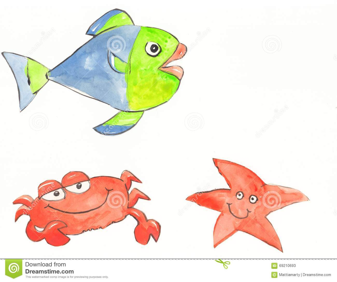 Crab starfish and fish stock illustration image 69210693 for Happy fish swimming