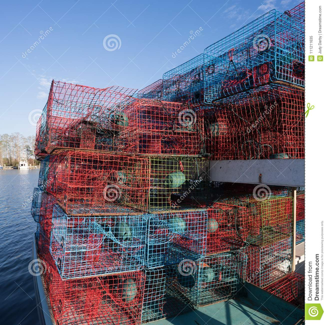 Crab Traps Stacked On A Fishing Boat Stock Image Image Of