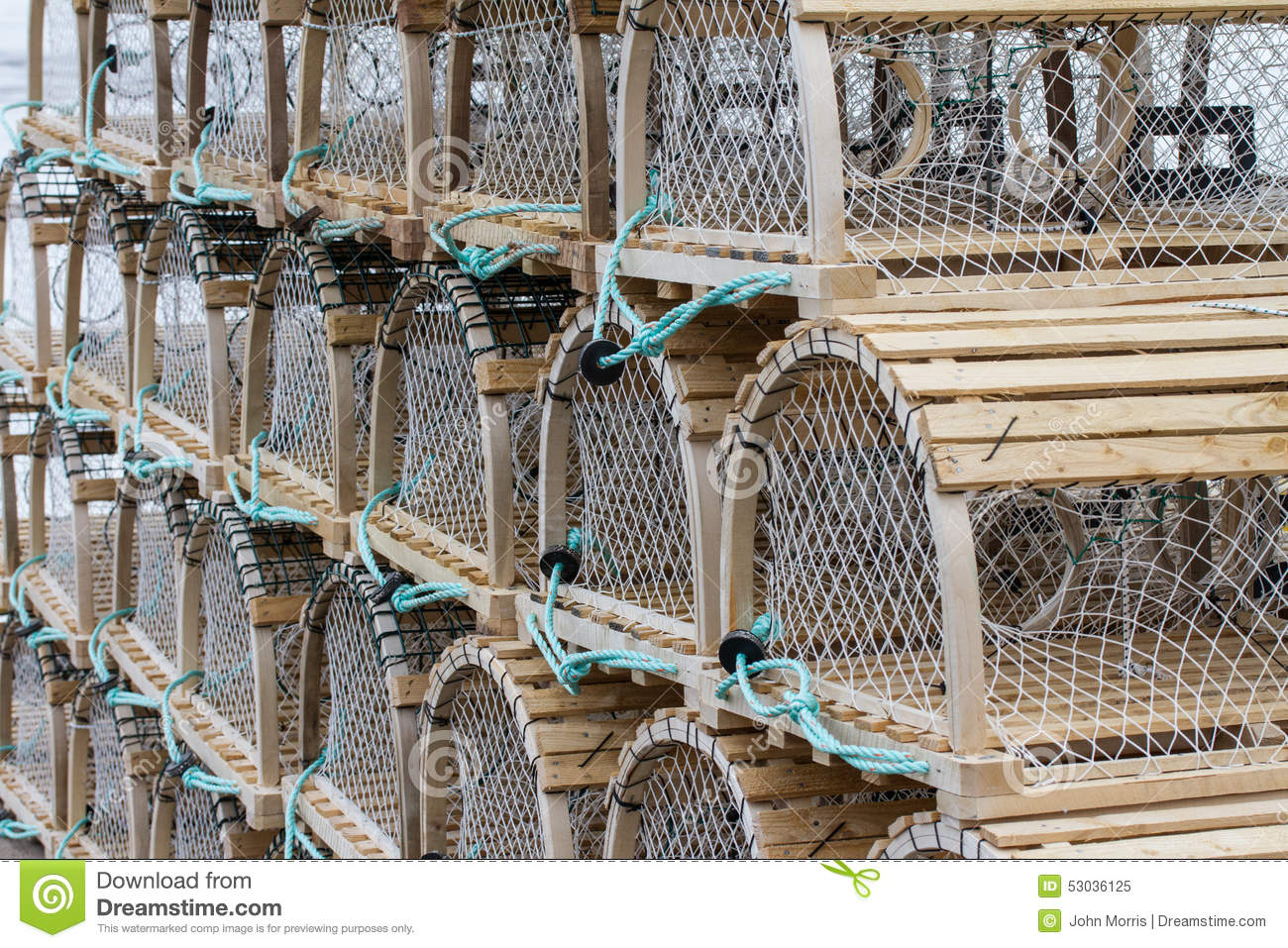 Crab Traps on Wharf stock image. Image of rope, awaiting - 53036125
