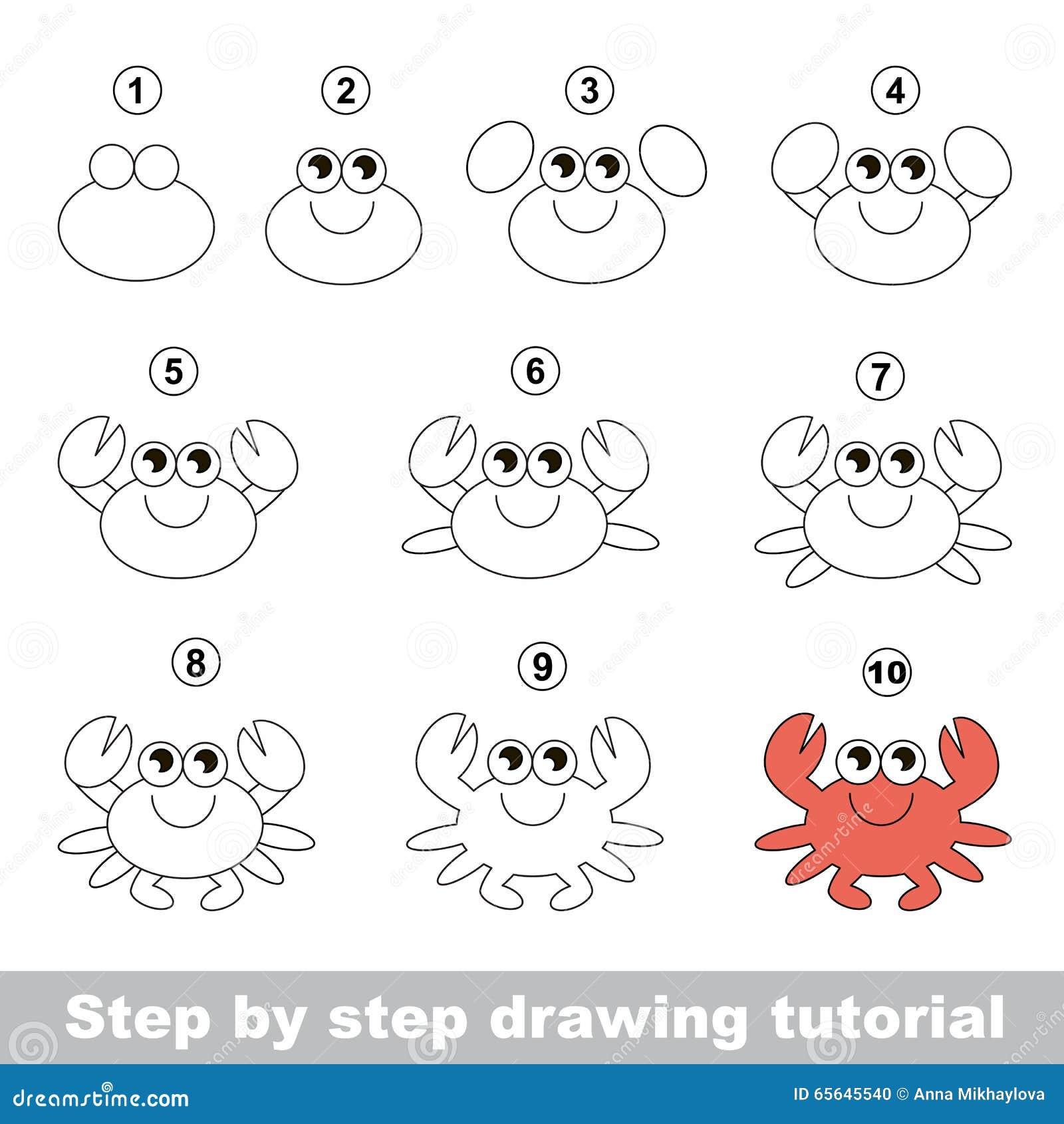 Crabe cours de dessin illustration de vecteur image - Dessiner un crabe ...