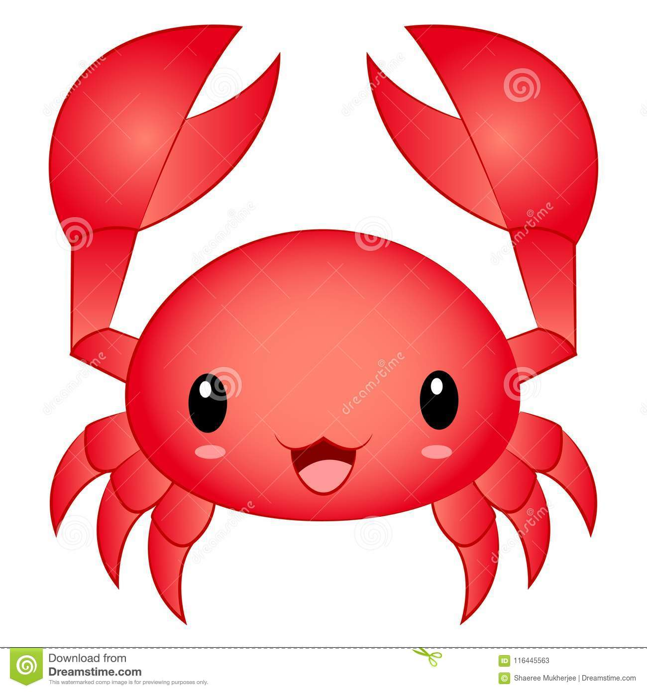 Crabe mignon de Kawaii Chibi de bande dessinée d illustration de vecteur