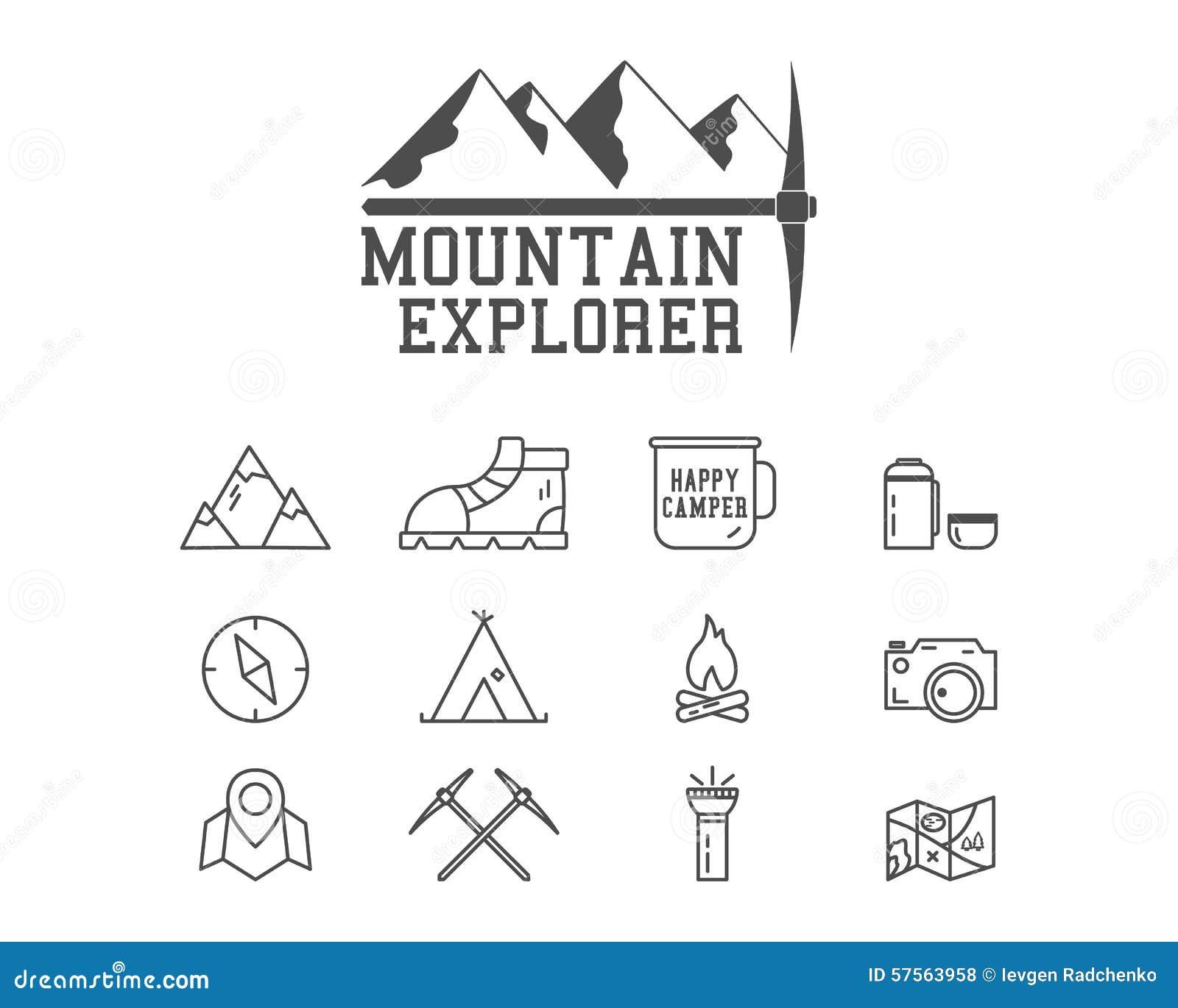 Crachá de acampamento do acampamento do explorador da montanha, logotipo