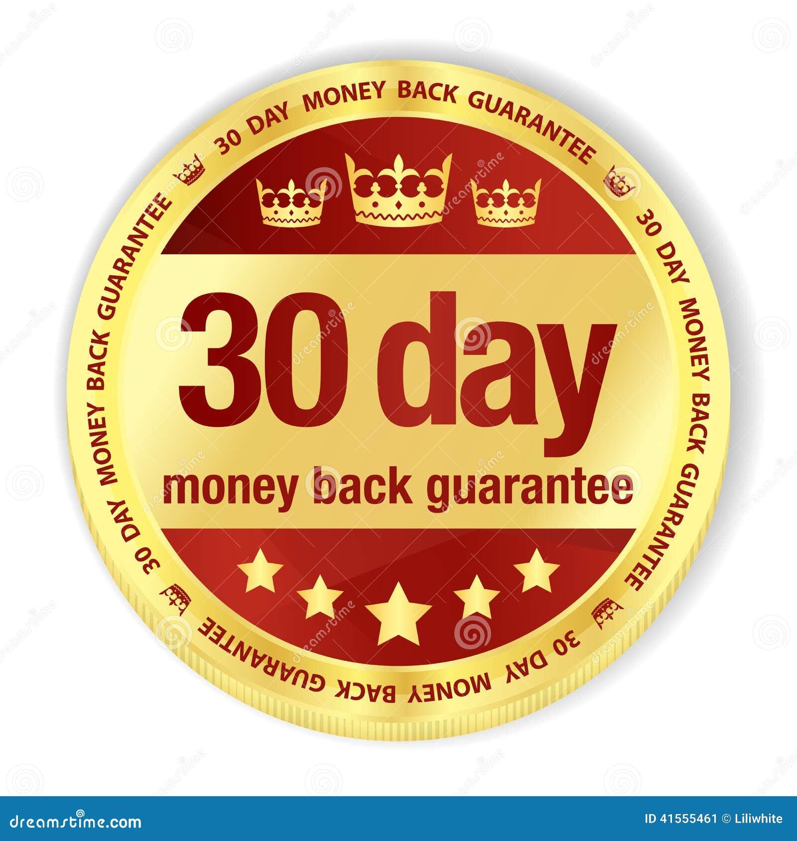 Crachá dourado com parte traseira g do dinheiro da suficiência vermelha e dos 30 dias