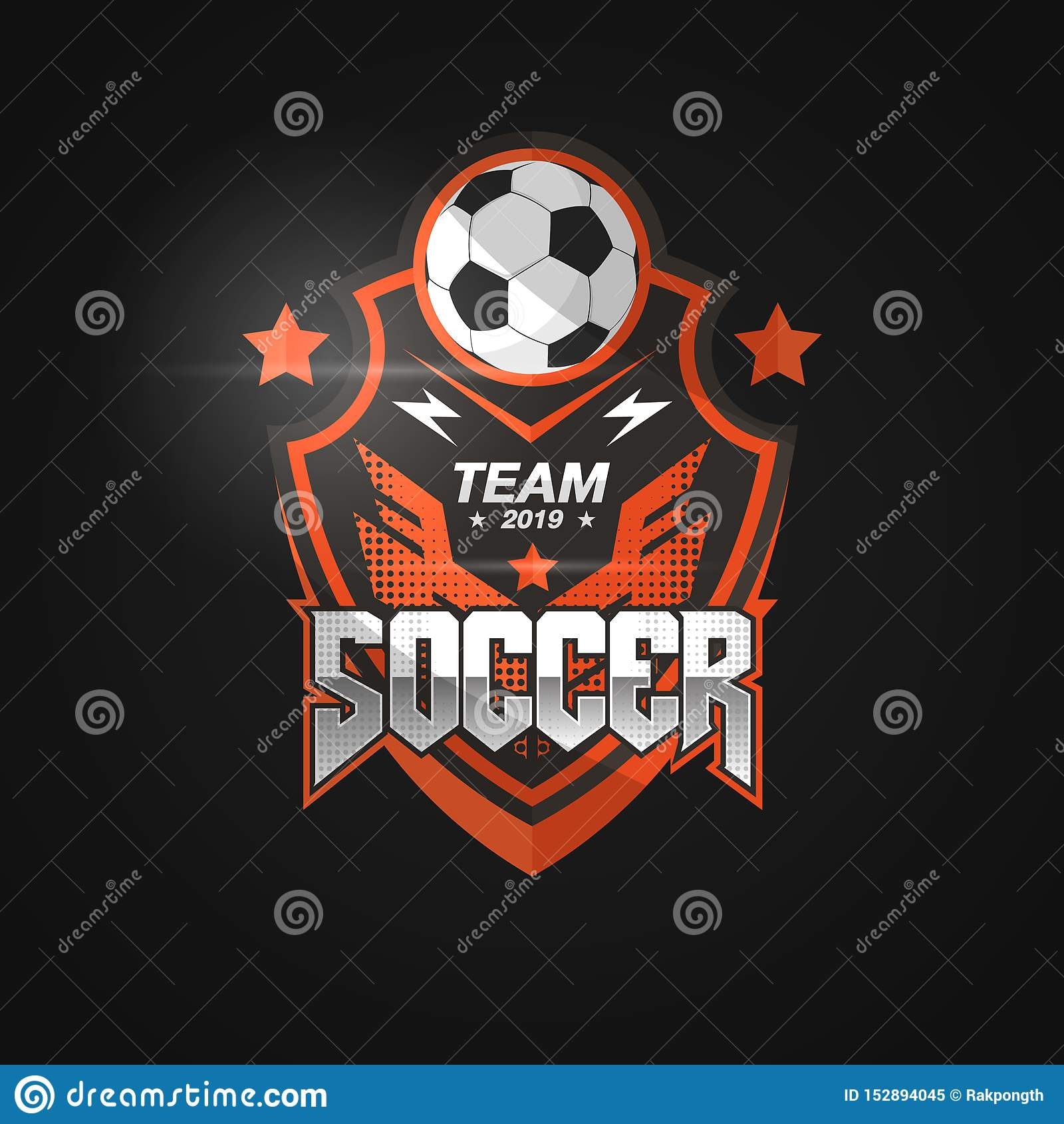 Crachá Logo Design Templates do futebol do futebol | Esporte Team Identity Vetora Illustrations isolado no fundo preto