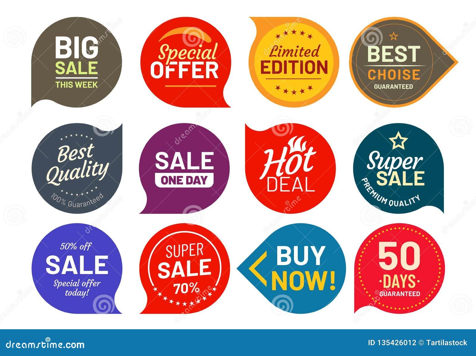 Crachás da qualidade da venda Em volta de cem por cento crachá assegurado da etiqueta Grupo dos ícones da ilustração do vetor da