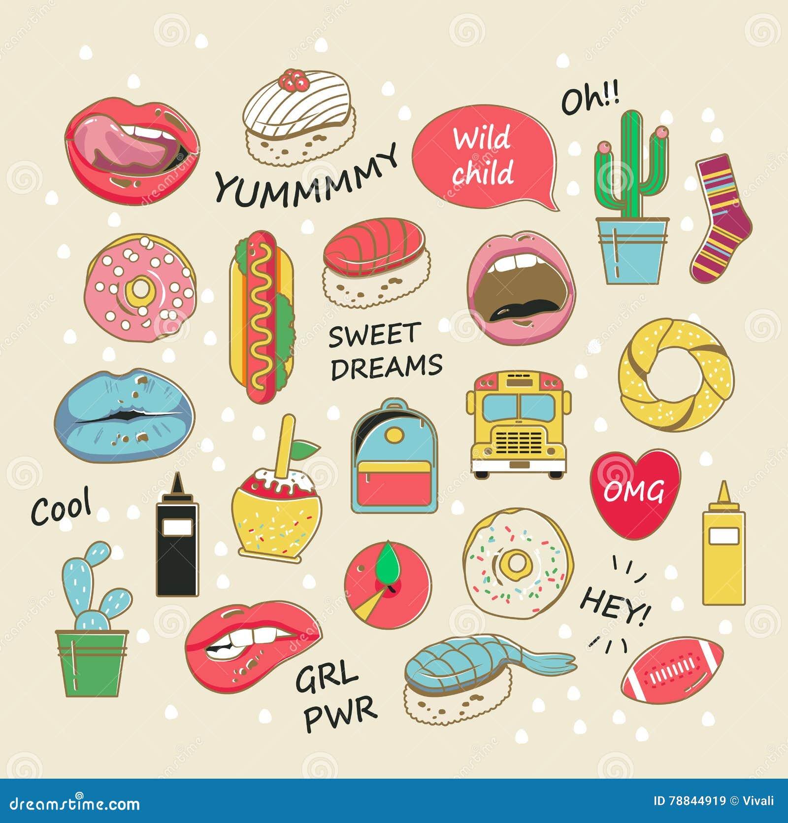 Crachás na moda do remendo do vetor nas cores pastel Bordos, anéis de espuma, cactos e outros elementos para meninas