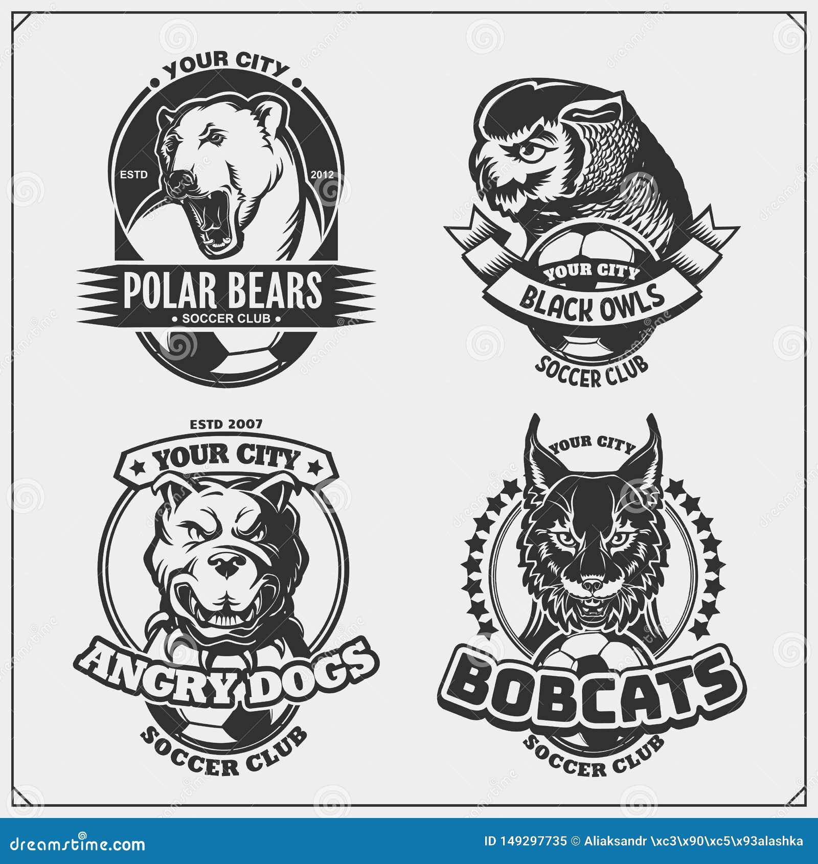 Crach?s do futebol, etiquetas e elementos do projeto O clube de esporte simboliza com urso polar, lince, pitbull e coruja Projeto