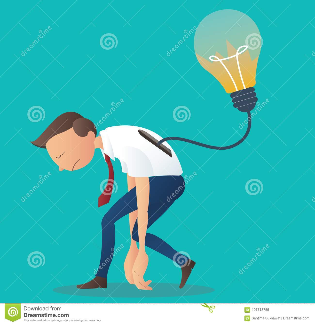 Crack light bulb in businessman back business symbol of crack light bulb in businessman back business symbol of thoughtless or problem in thinking concept biocorpaavc