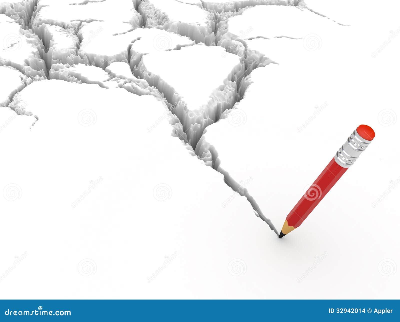Как карандашом нарисовать трещину