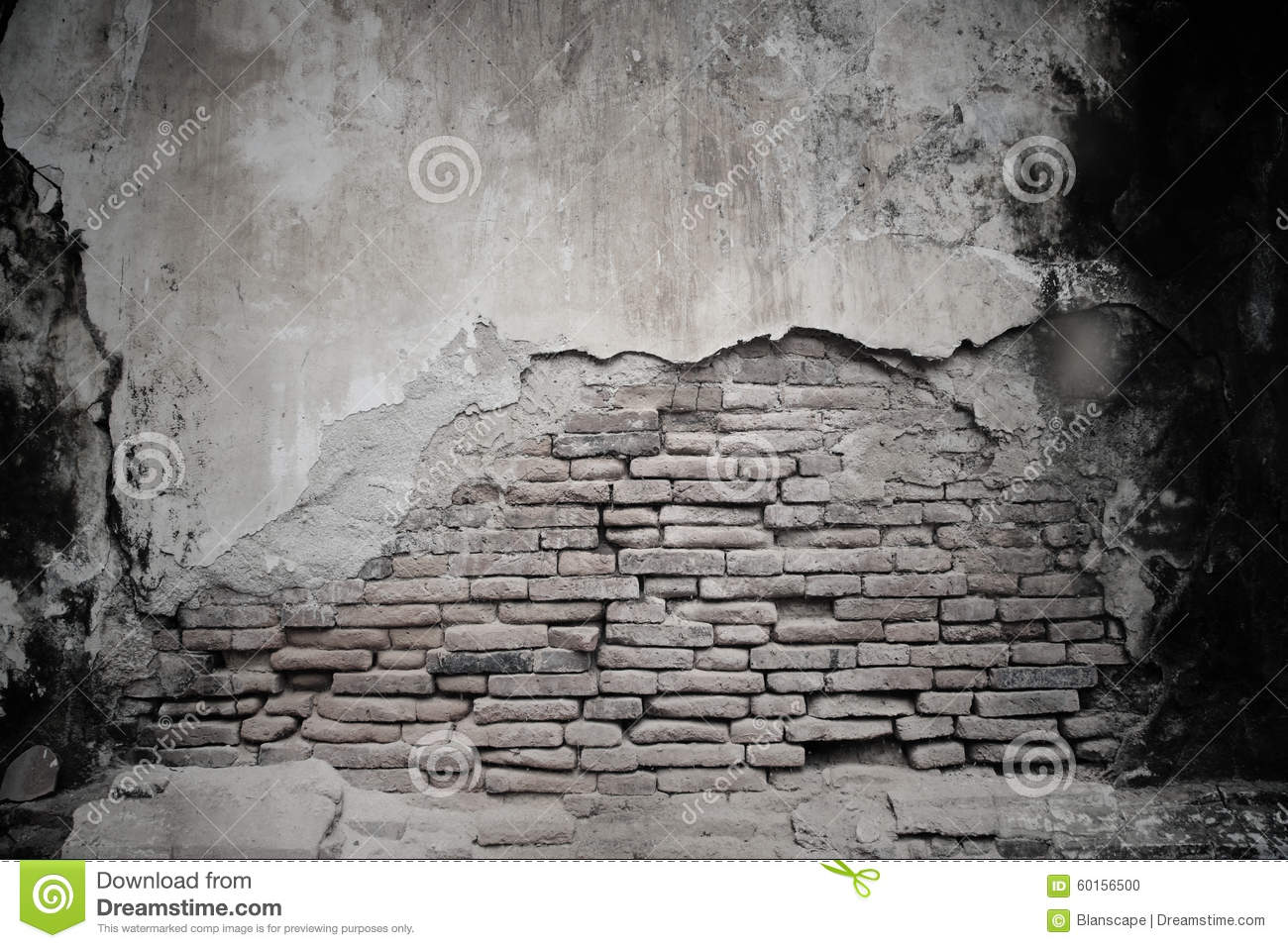 Cracked Cement And Old Brick Wall Stock Photo Image