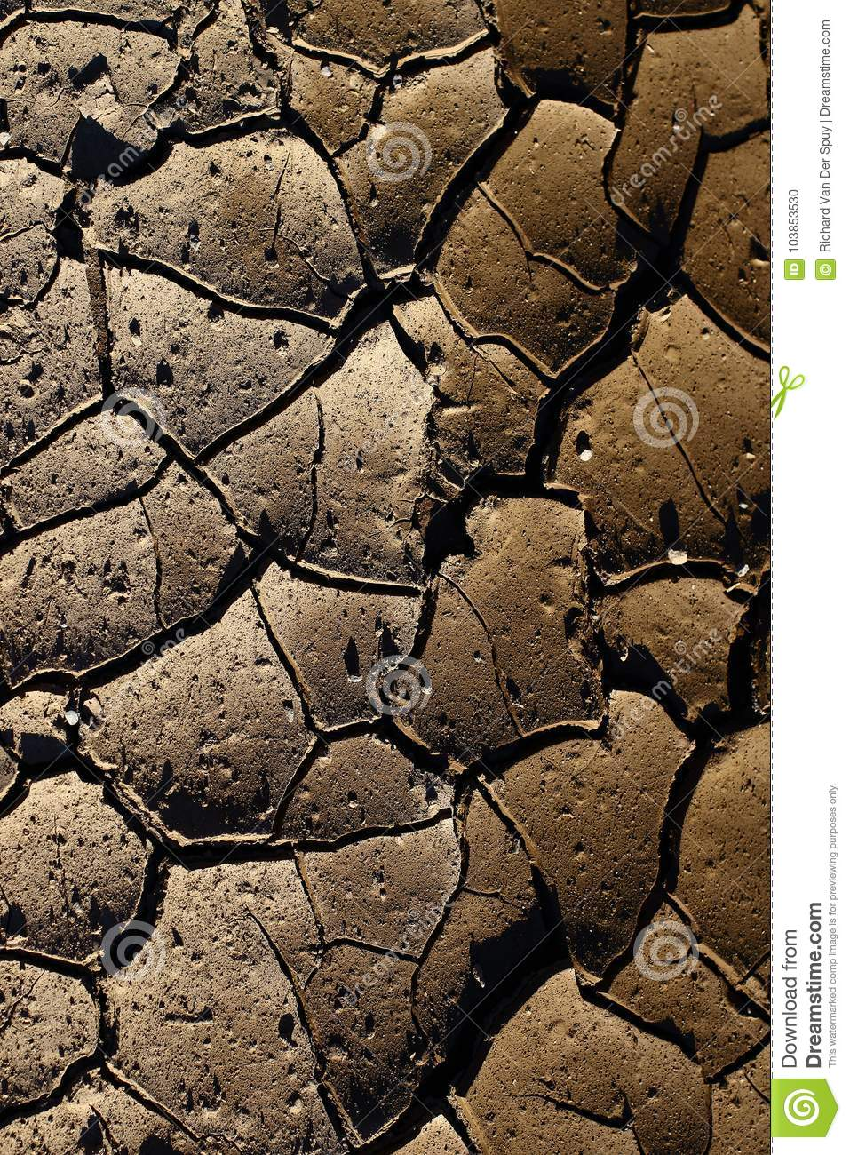 Cracked earth due to the heat from the sun