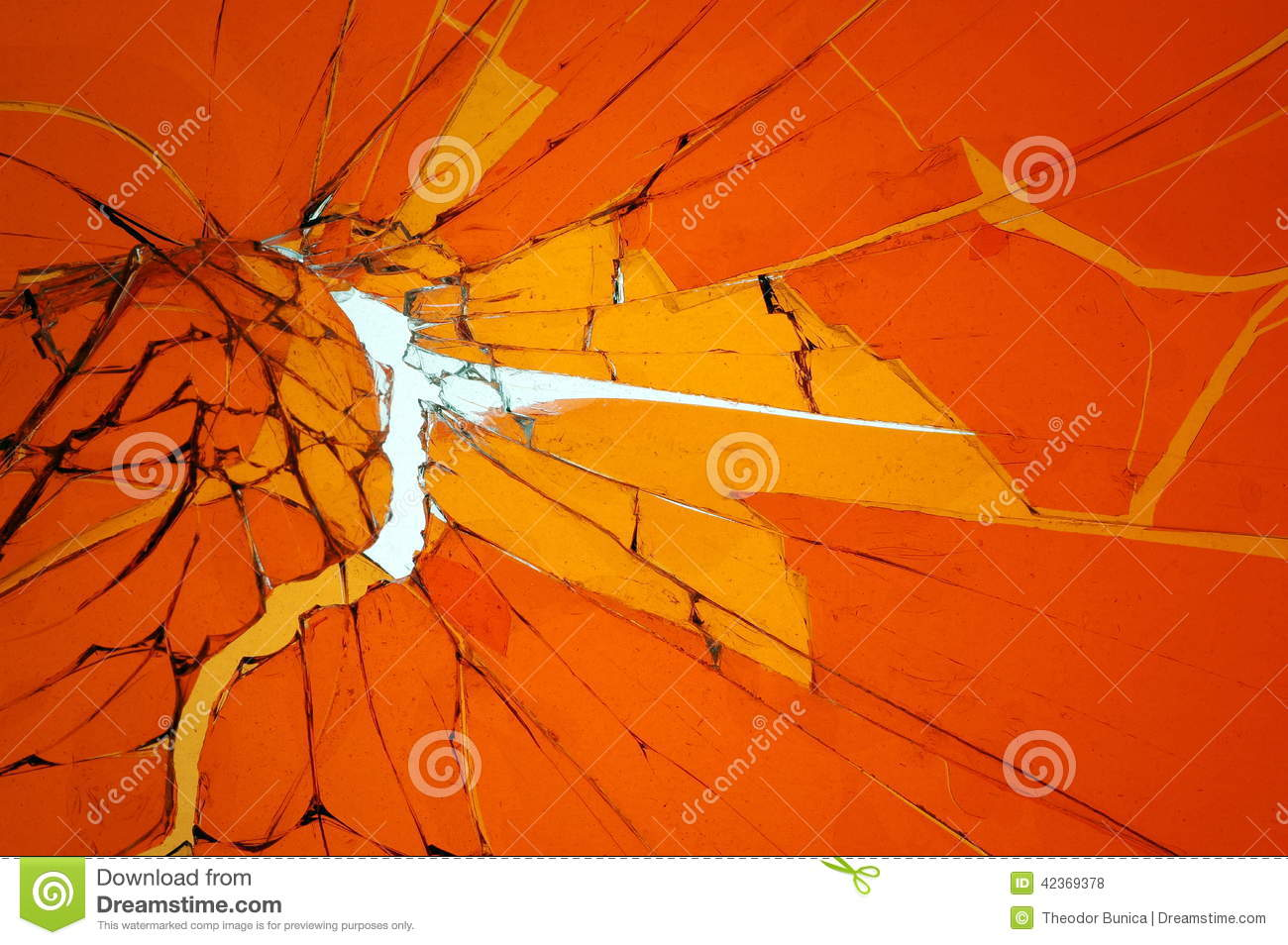 Background with broken cracked glass. Colored glass