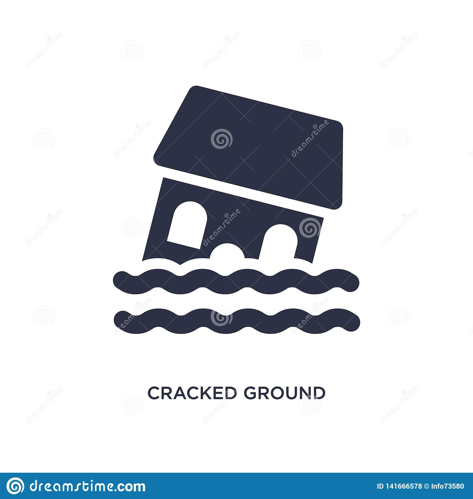 cracked ground between houses icon on white background. Simple element illustration from meteorology concept
