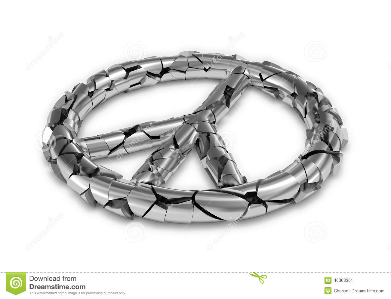 Cracked Peace Sign Broken Symbol Stock Illustration