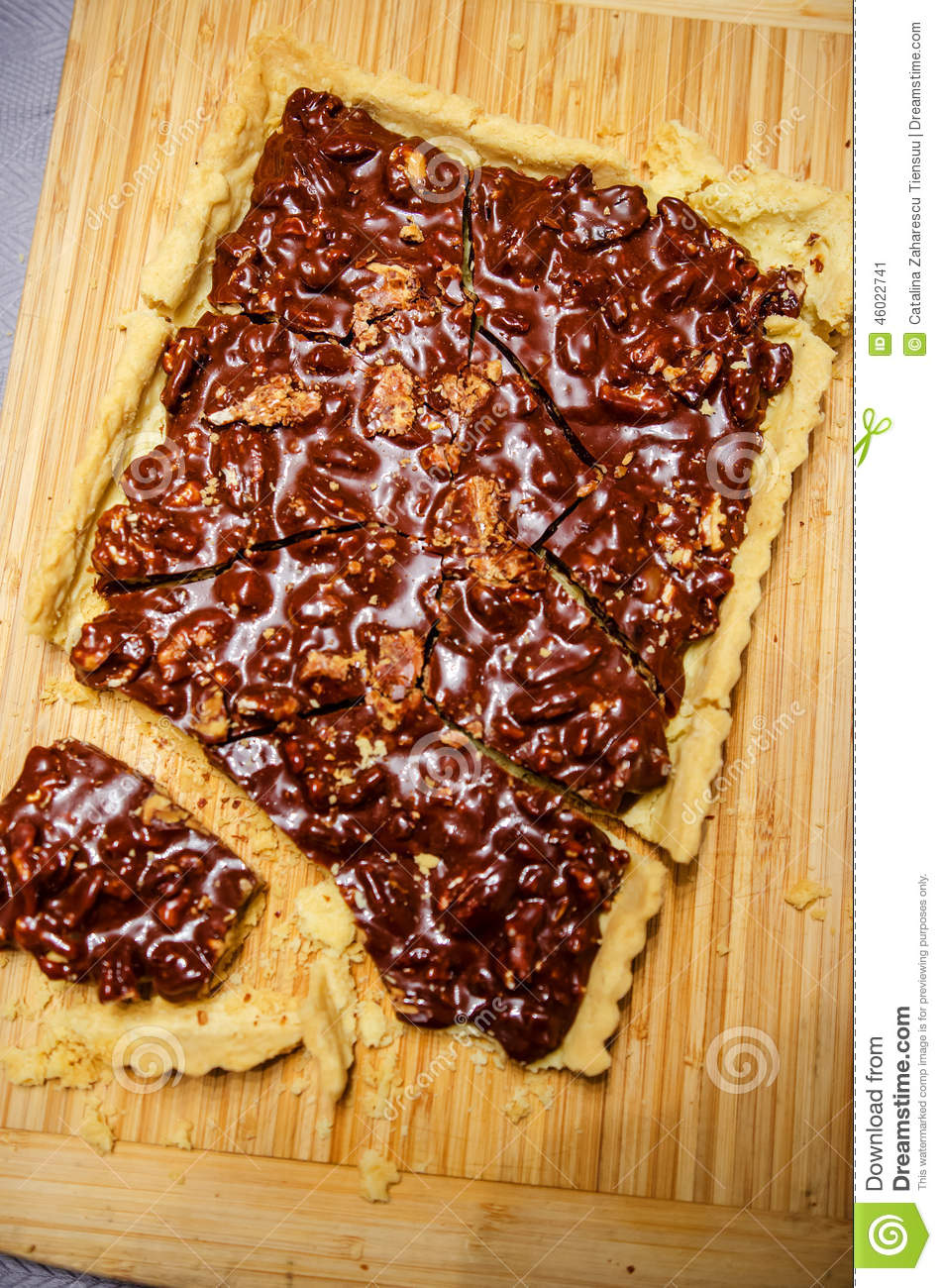 Cracked Pecan Caramel Tart Stock Photo - Image: 46022741