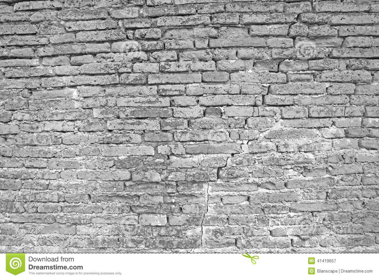 Cracked White Brick Wall Stock Photo - Image: 41419657