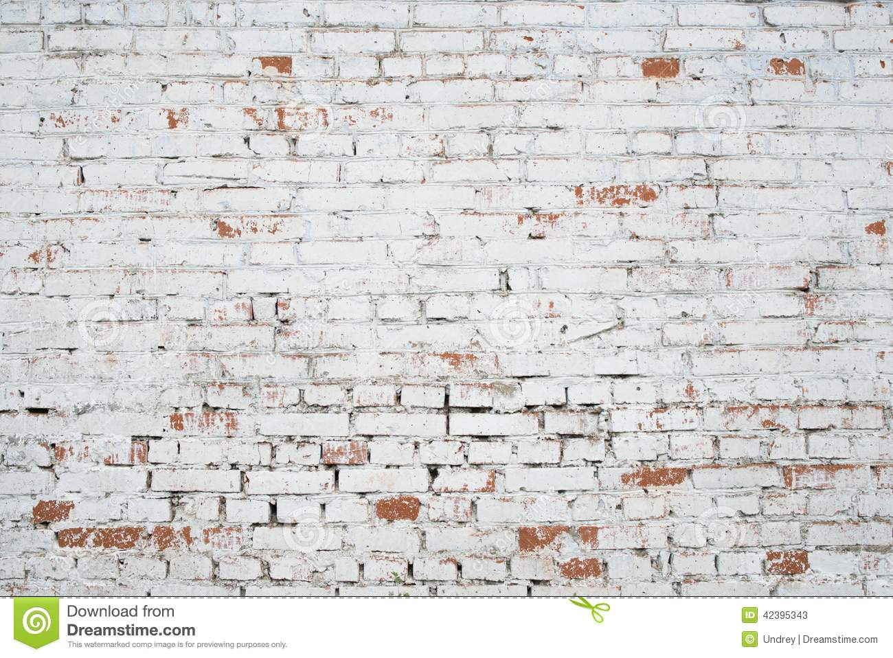 Cracked White Grunge Brick Wall Textured Stock Image