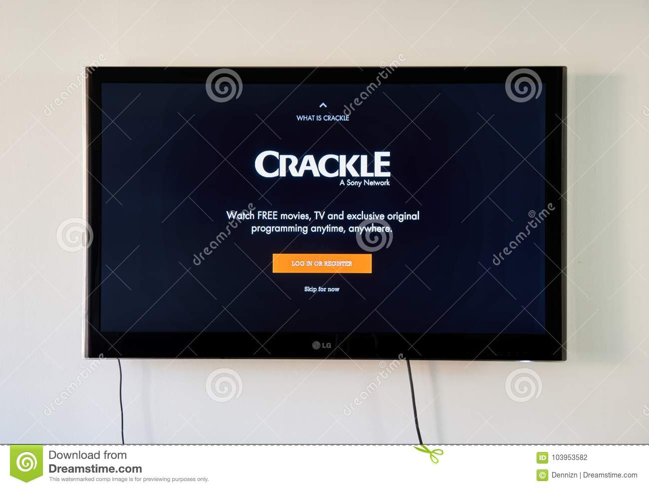 Crackle Logo And Login Page On LG TV Screen  Editorial