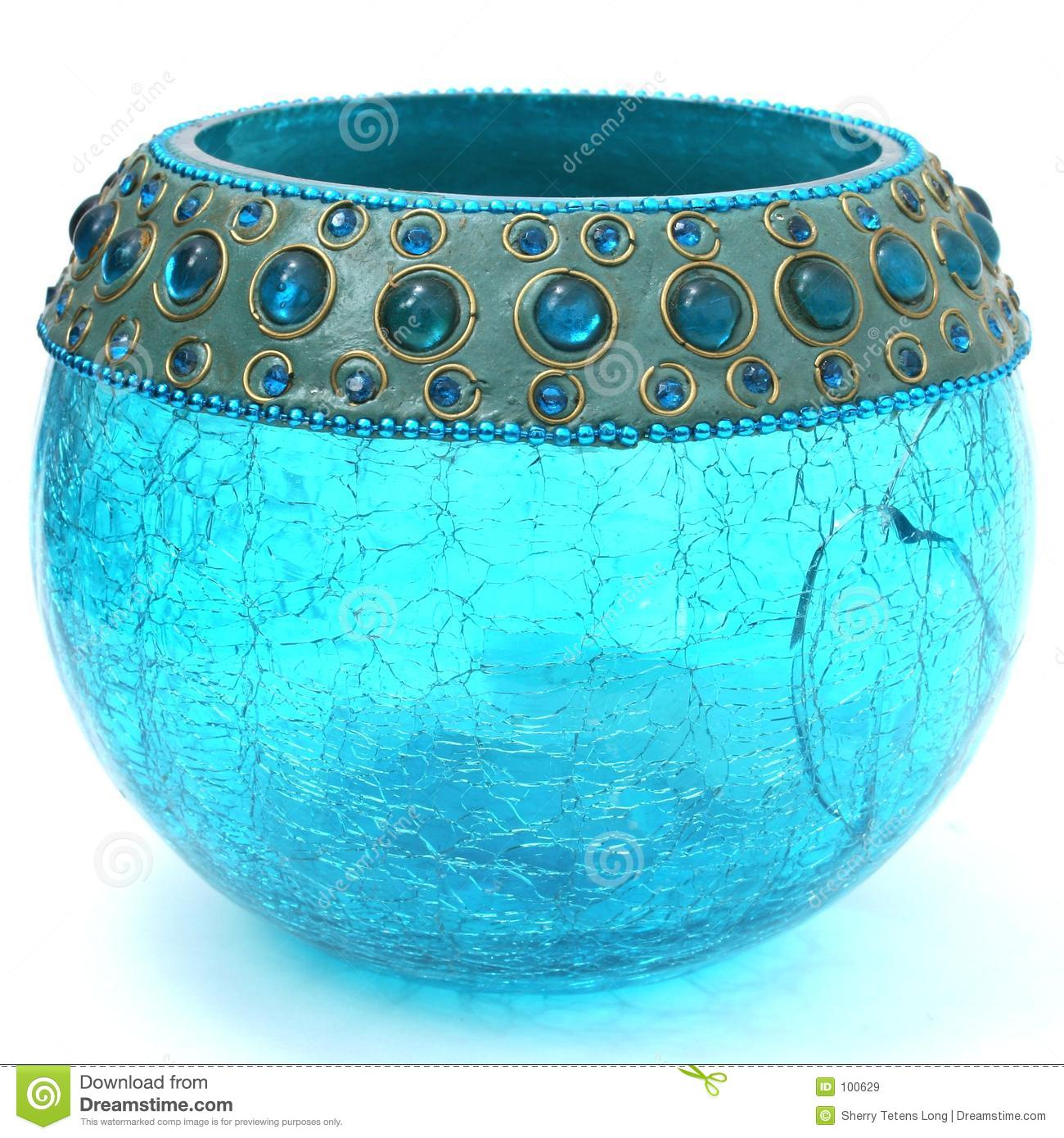 Crackled Turquoise Blue Votive