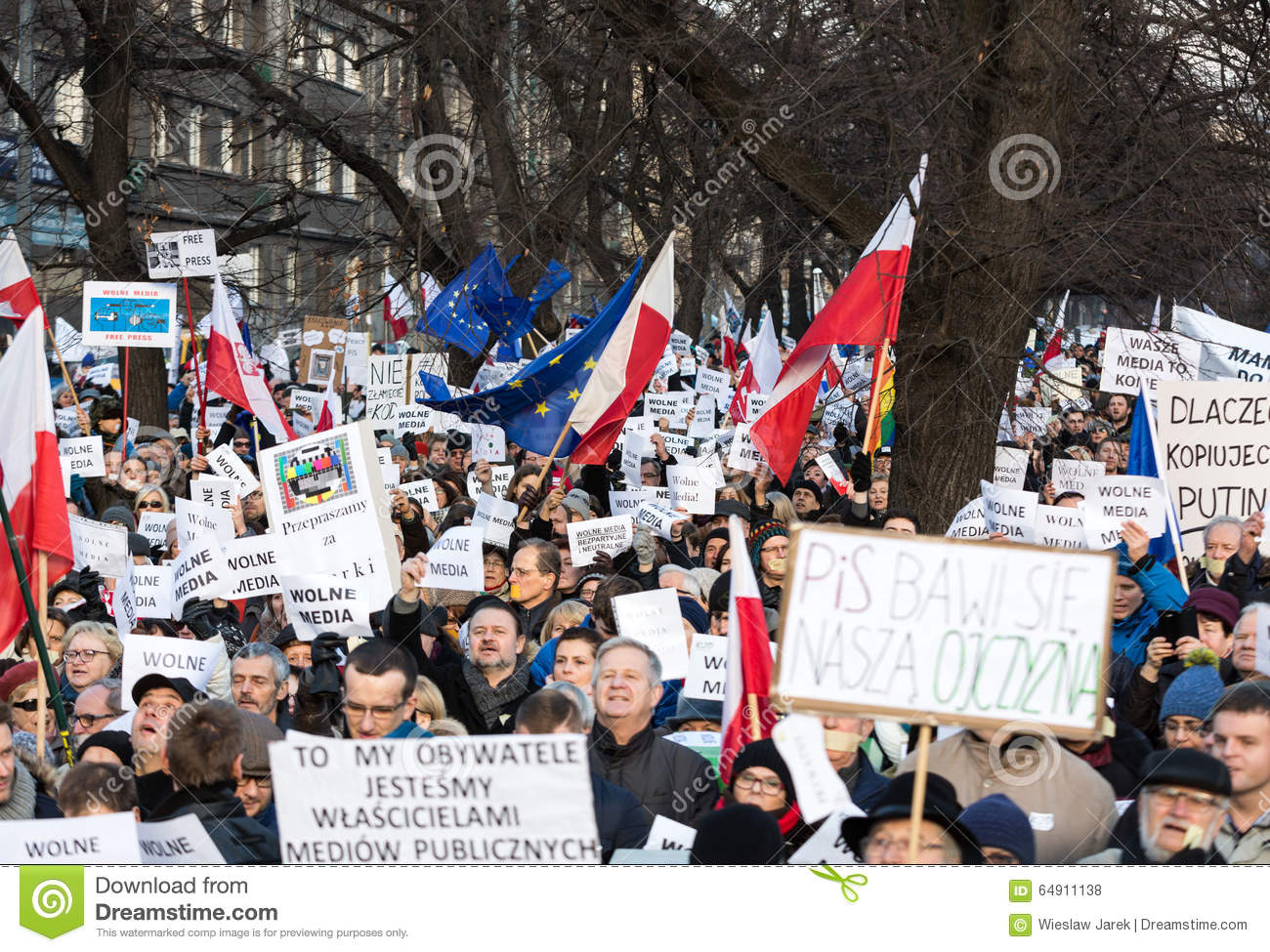 Cracow - The demonstration of the Committee of the Defence of Democracy KOD