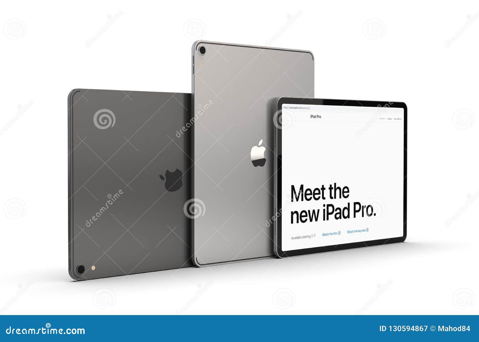 Cracow, Polônia - 31 de novembro de 2018: iPad pro uma versão nova da tabuleta de Apple
