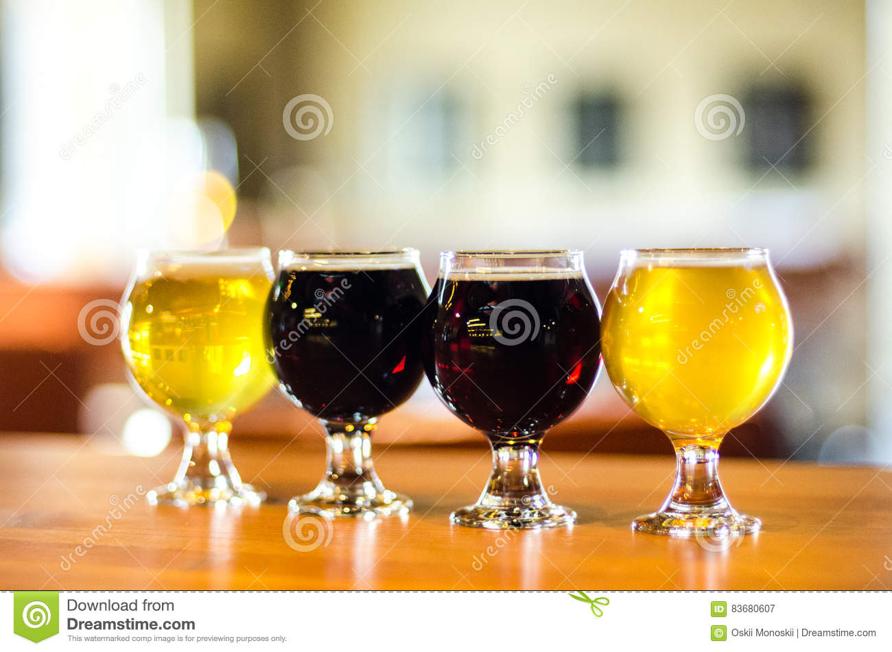 Craft beer flight close-up