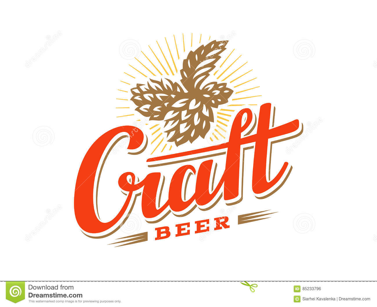Craft Beer Logo Vector Illustration Hop Emblem Design Stock Vector