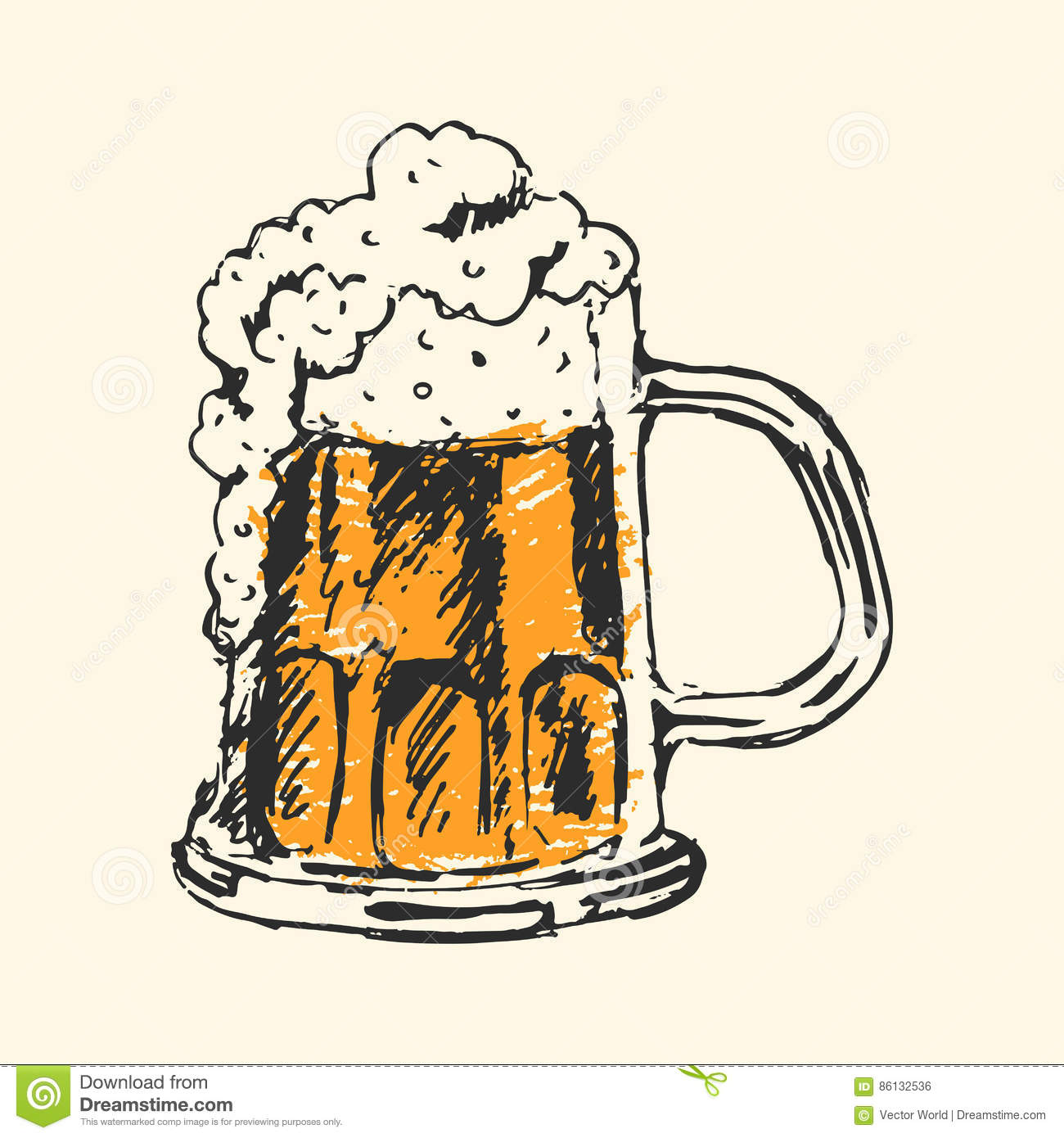 Craft Beer And Pub Sketch Vector Illustration Stock