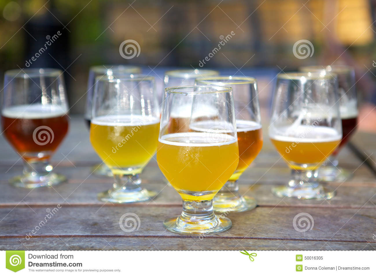 Craft beer samples in glasses outdoors stock photo image for Craft brew beer tasting glasses