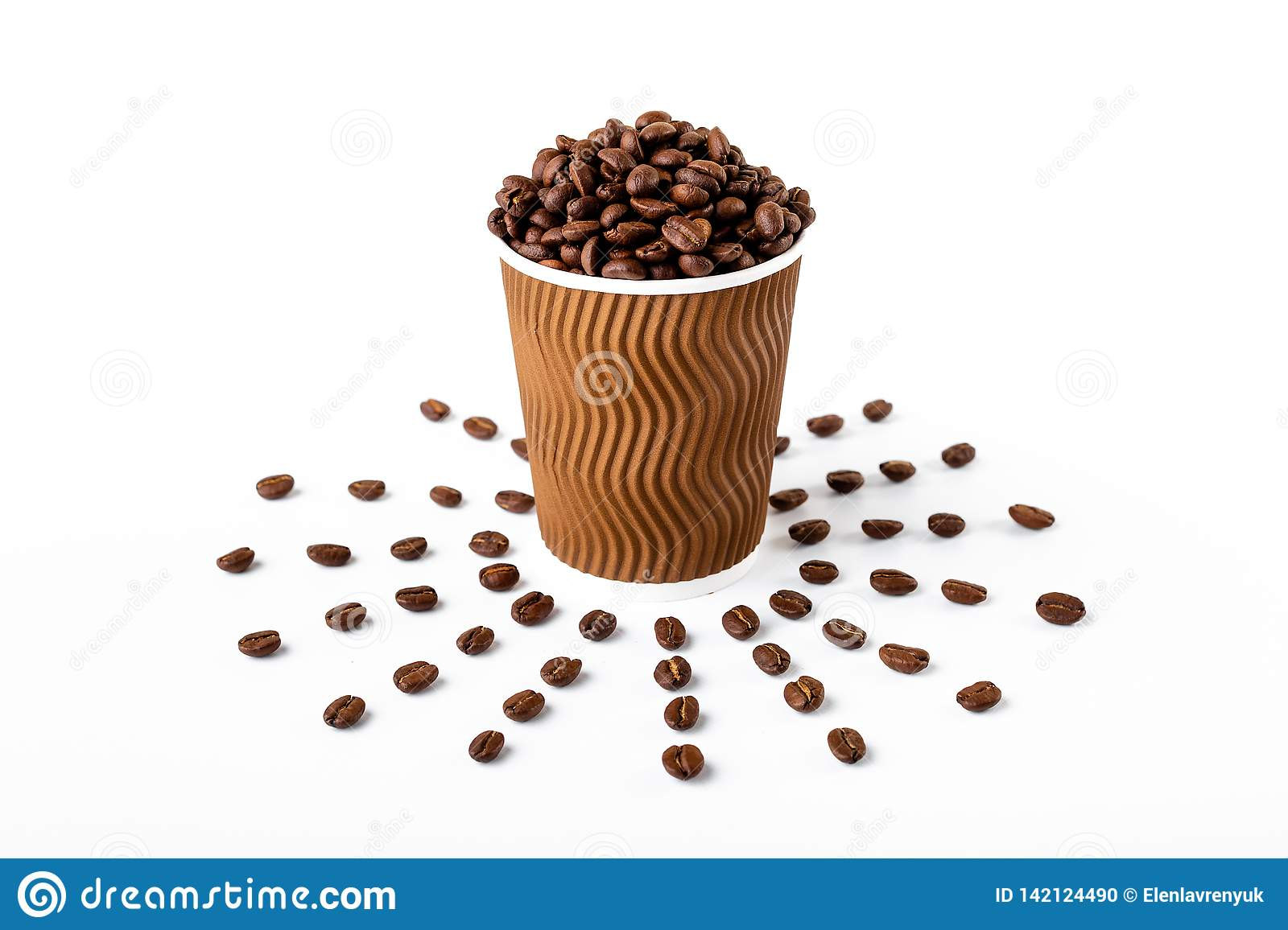 Craft coffee cup full of coffee bean on white background
