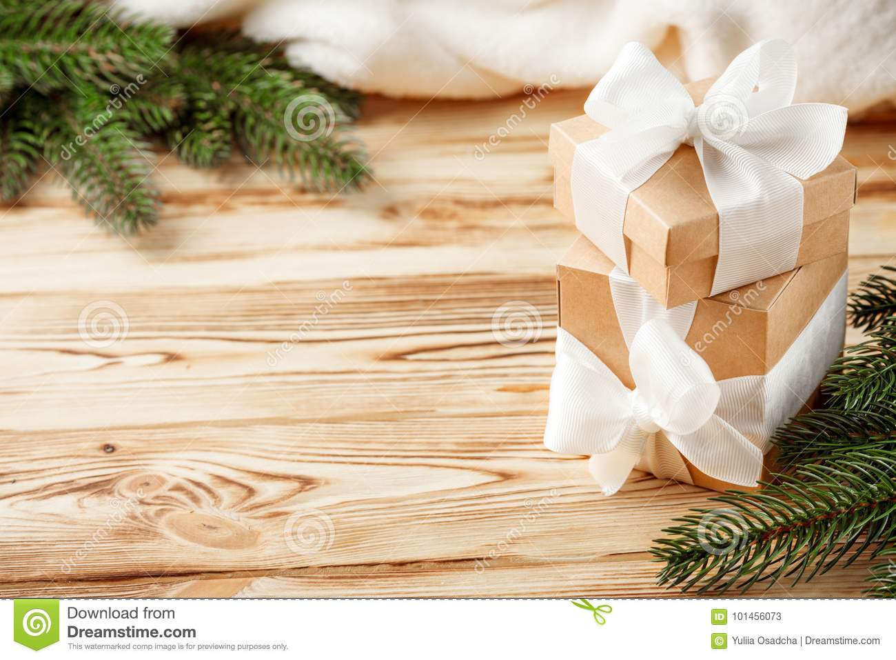 Craft Gift Boxes With White Ribbon Bow Green Christmas Tree Decorations White Plaid On Wooden Background Xmas And New Year Co Stock Image Image Of Paper Happy 101456073
