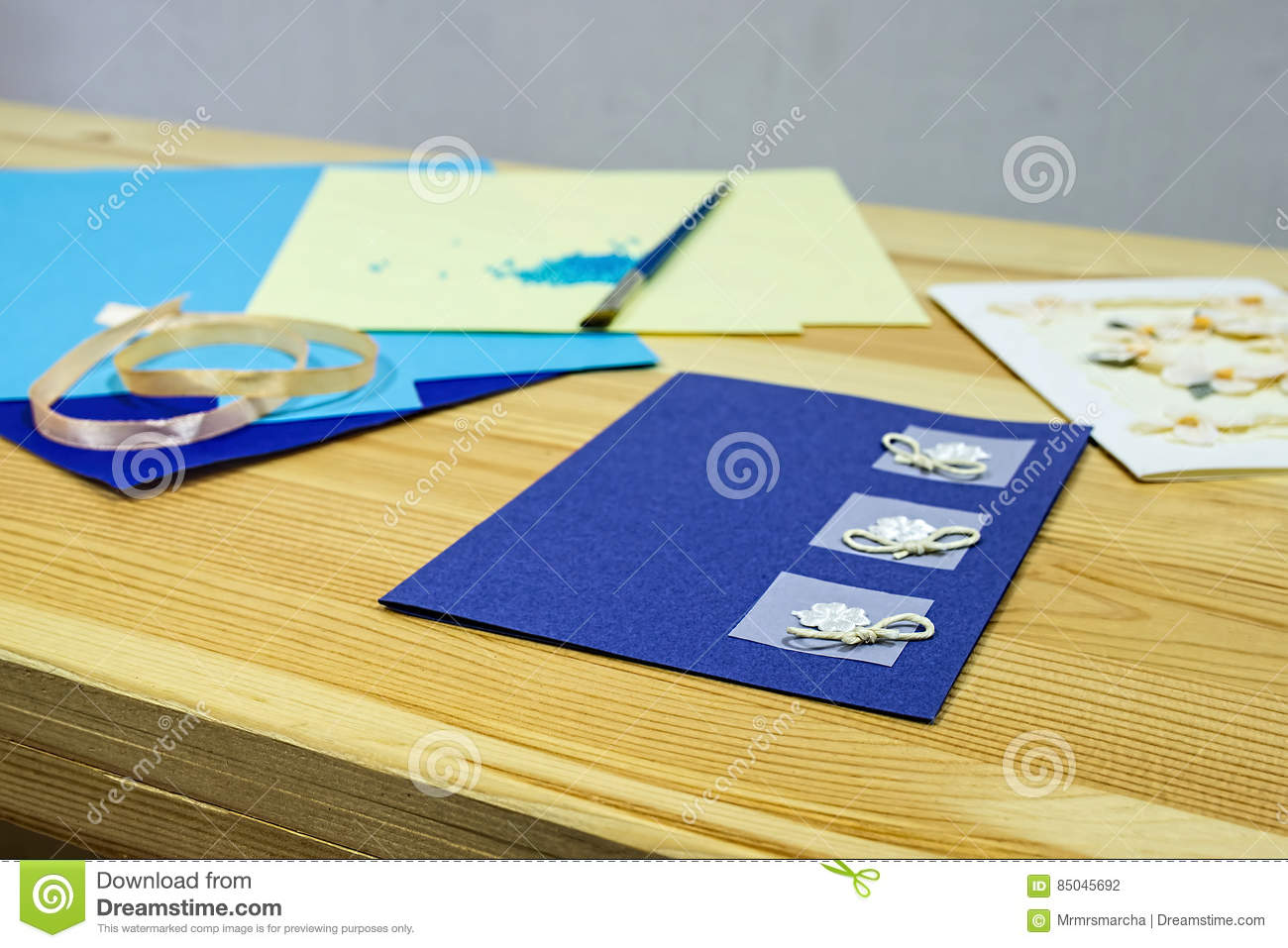 Craft Greeting Card Income From Hobbies Home Business Stock Photo