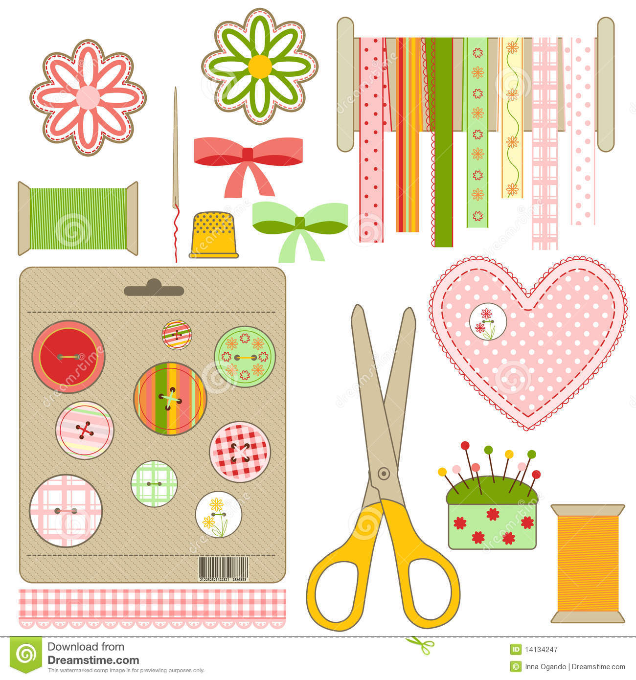 Craft And Needlework Set Stock Vector Illustration Of Needle 14134247