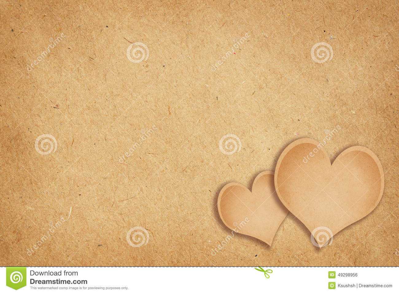 Craft Paper Background With Hearts Stock Photo Image Of Blank