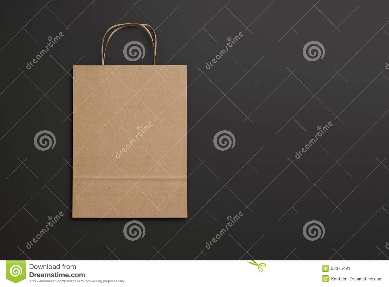 craft paper bag with handles on black background  3d