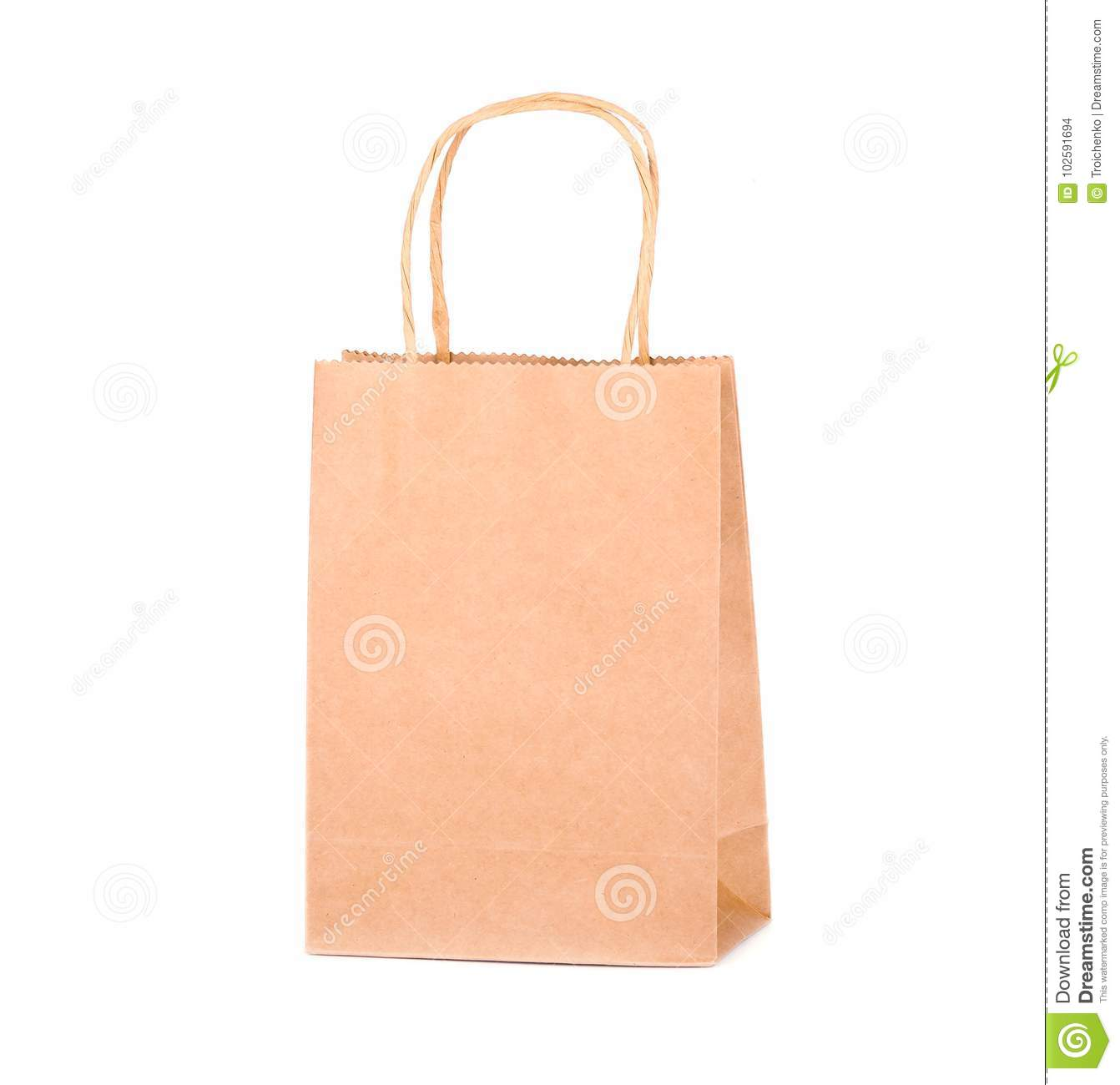 craft paper bag isolated on white background packaging template