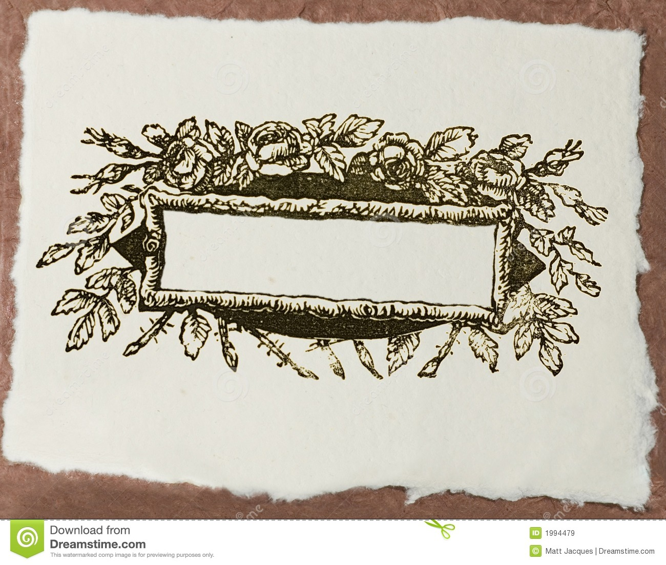 Craft Paper With Blank Floral Design Title Stock Image - Image: 1994479