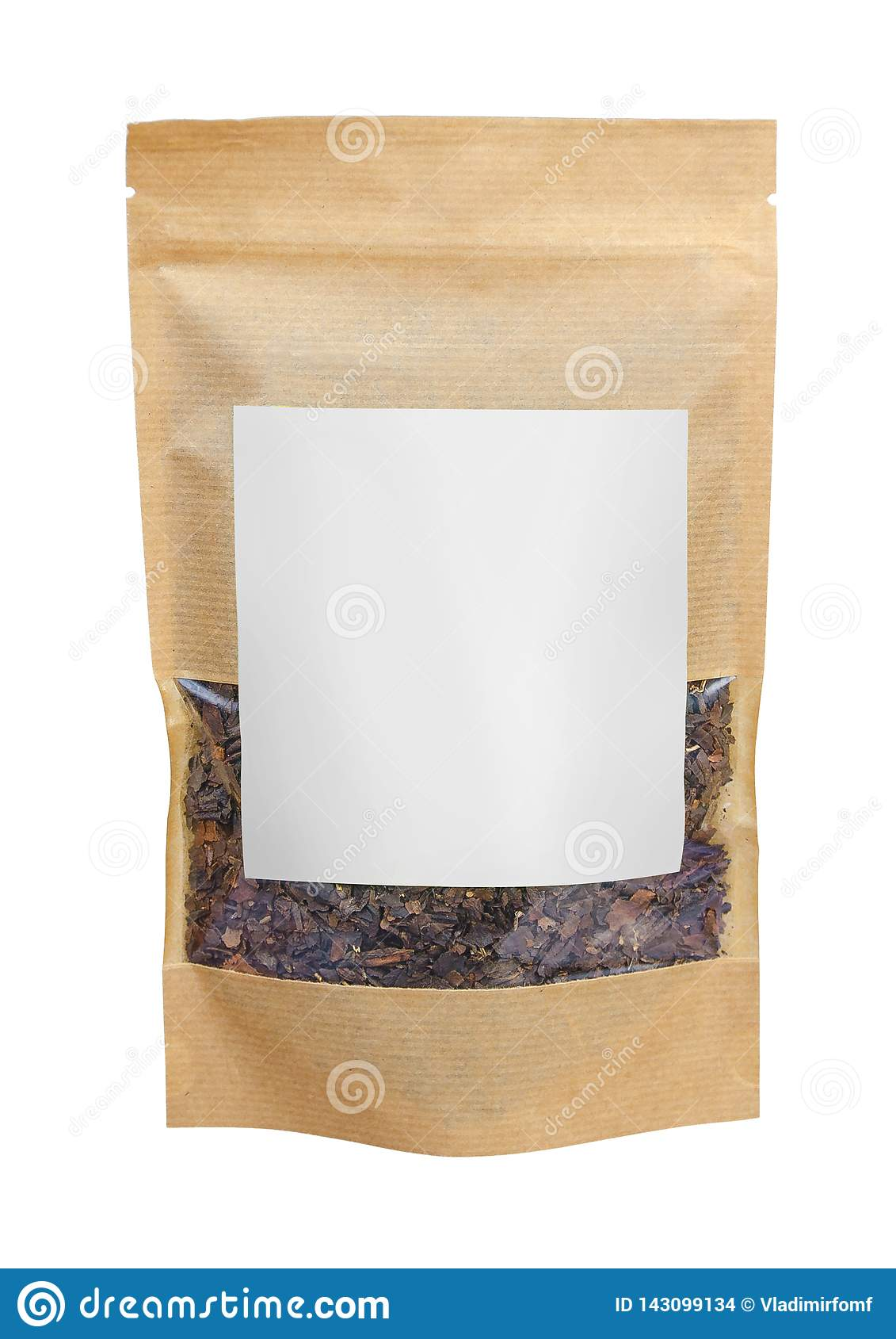 Craft paper pouch bag with herbal tea isolated on white background. Packaging template mockup.