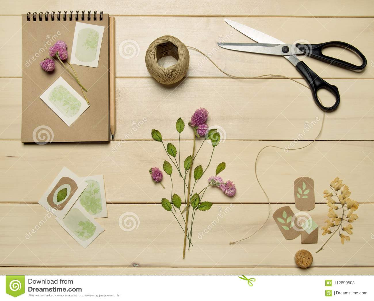 Craft Paper Sketch Book With Flowers Stock Image Image Of Pressed