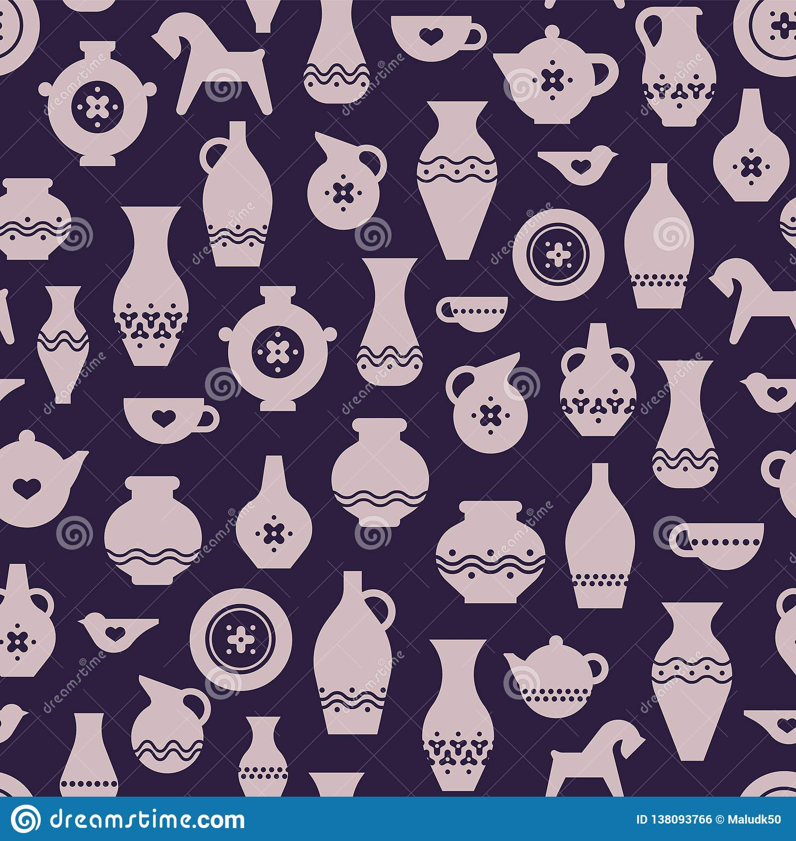 Craft Pottery Or Ceramic Seamless Pattern Vases Plates A Cup Teapot Stock Vector Illustration Of Rome Decorative 138093766