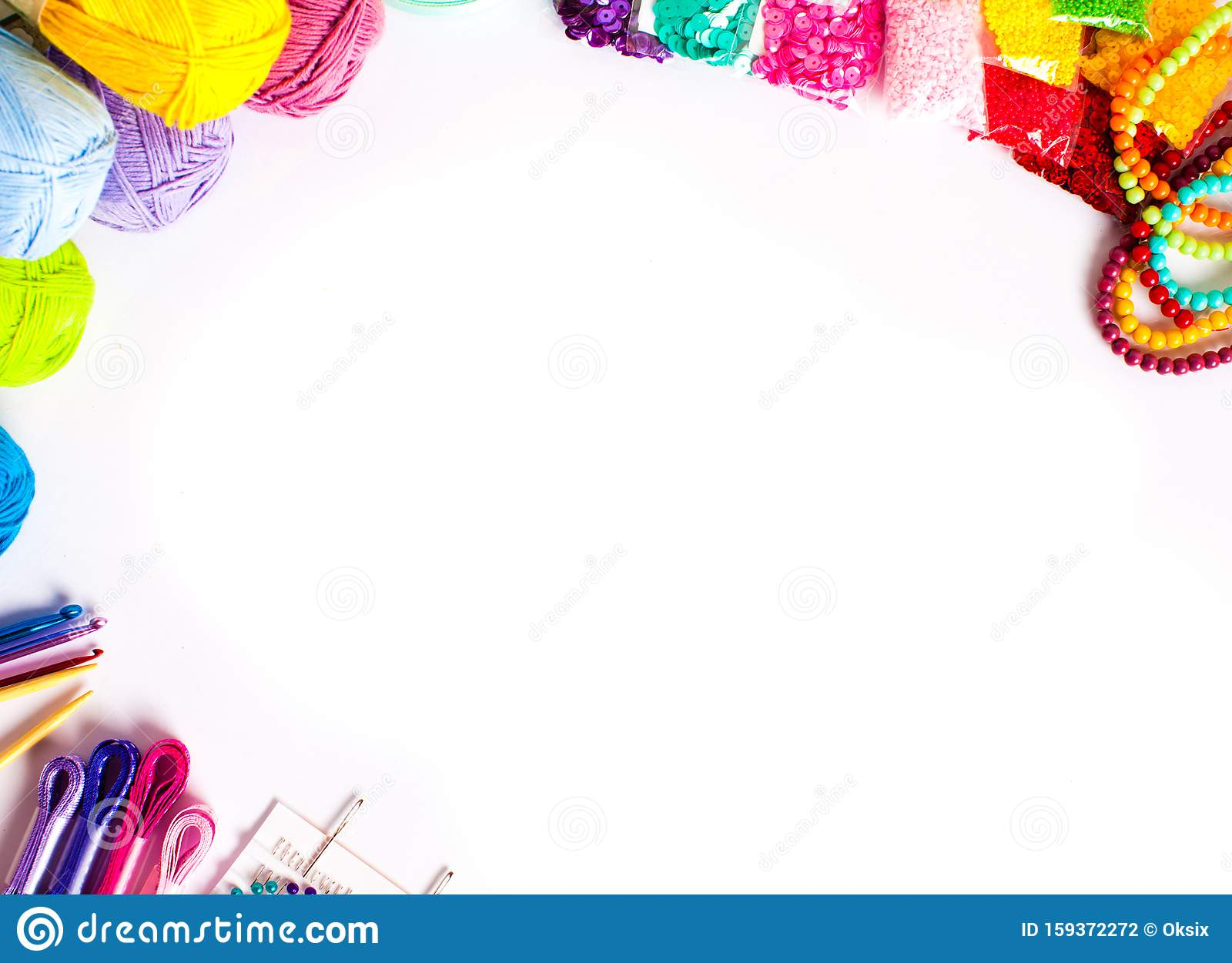 Craft Supplies For Diy Top View Frame Isolated On White Stock Photo Image Of Card Crochet 159372272