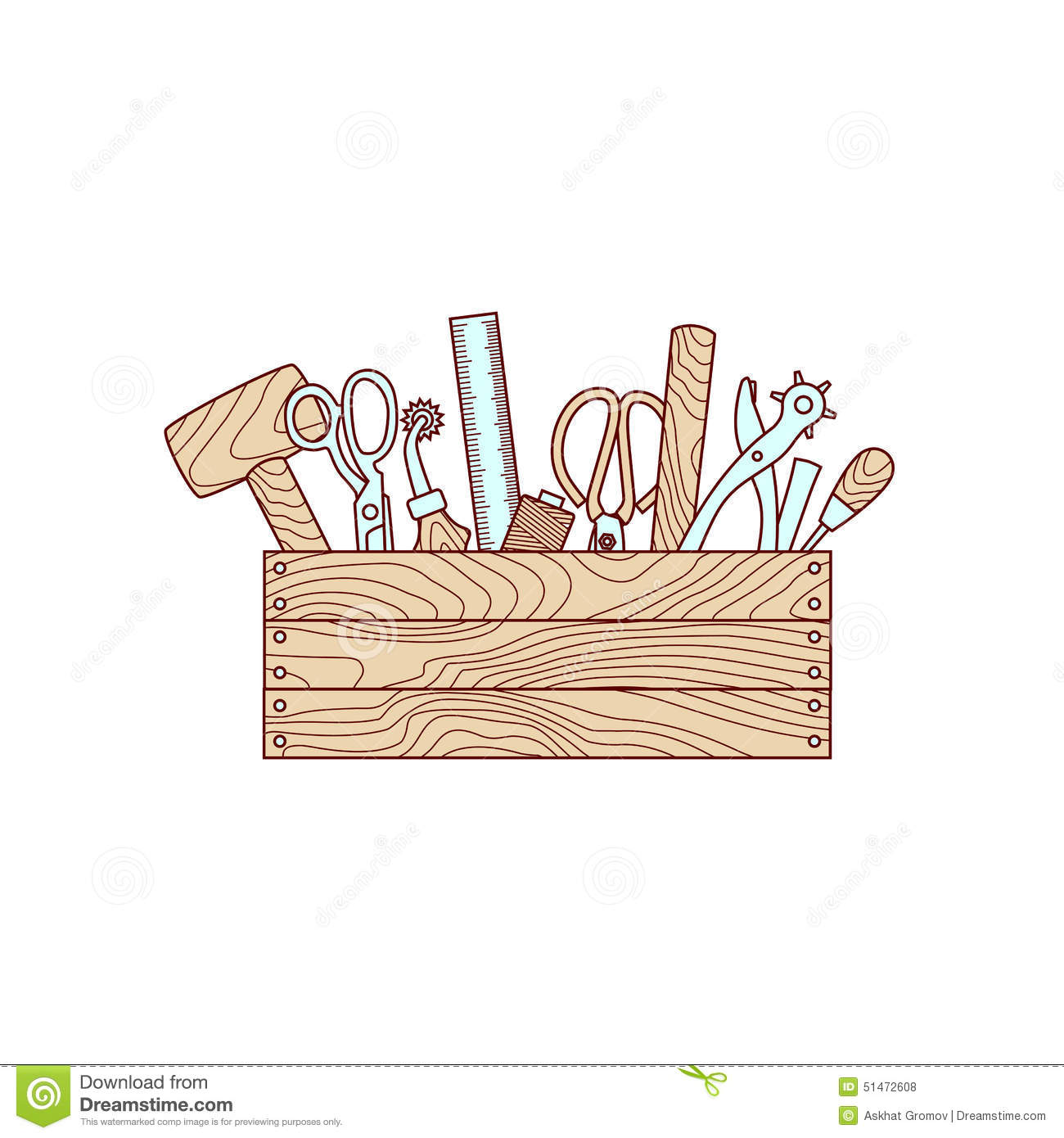 Craft Tools In Toolbox Vector Illustration Stock Vector