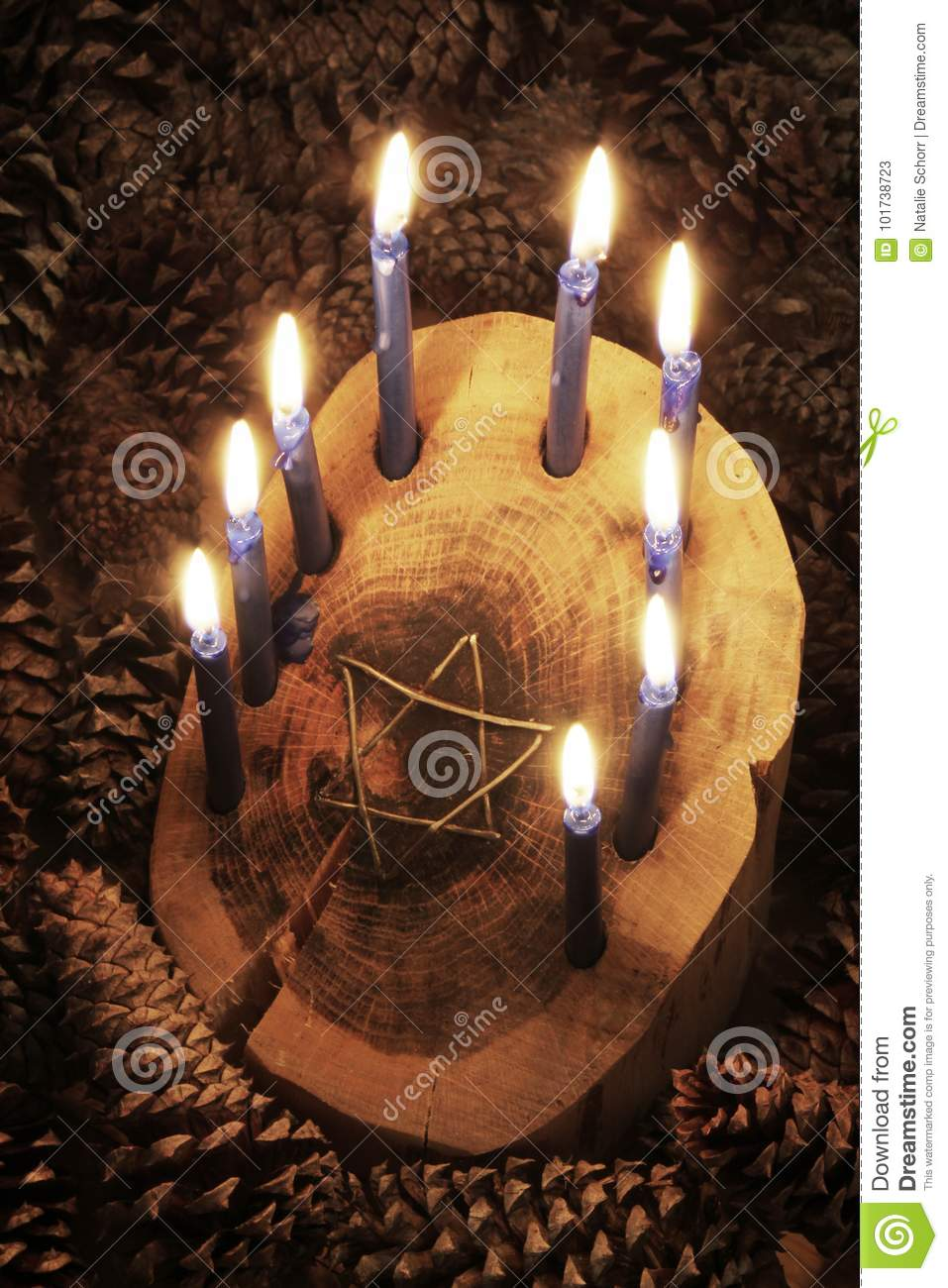 Crafted Rustic Wood Log Menorah Surrounded By Pine Cones With Inset Star Of David Candles Lighted Stock Image Image Of Star Crafted 101738723