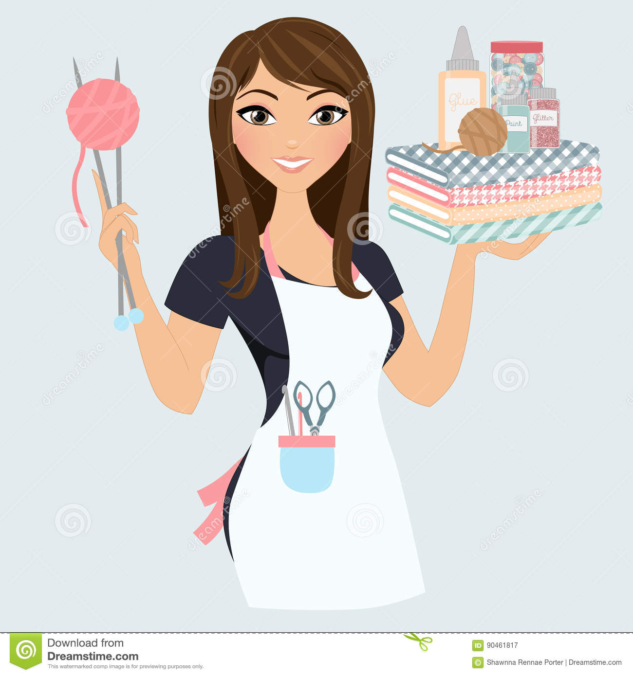 Woman Knitting Clipart : Crafter woman stock image illustration of avatar