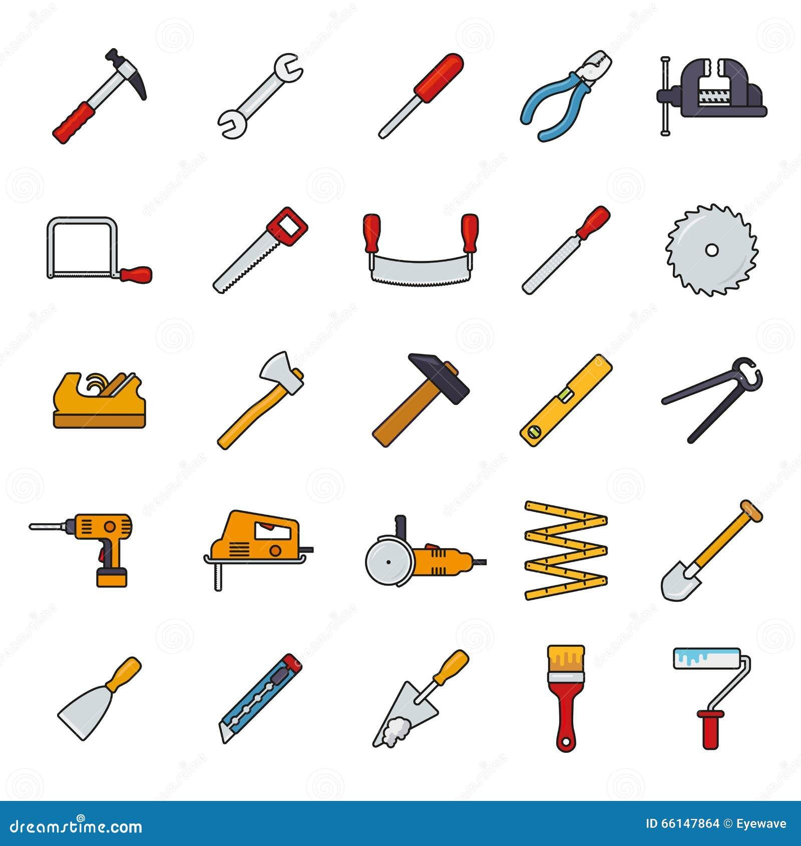 Crafting ferramentas encheu a linha grupo do vetor dos ícones