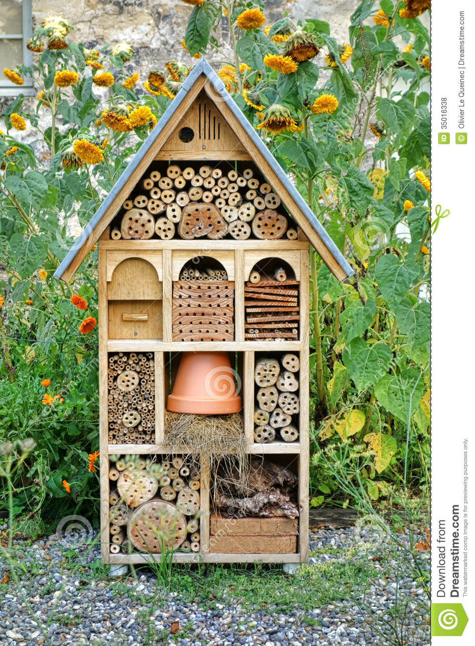 Craftsman built insect hotel decorative wood house stock for Maison decorative