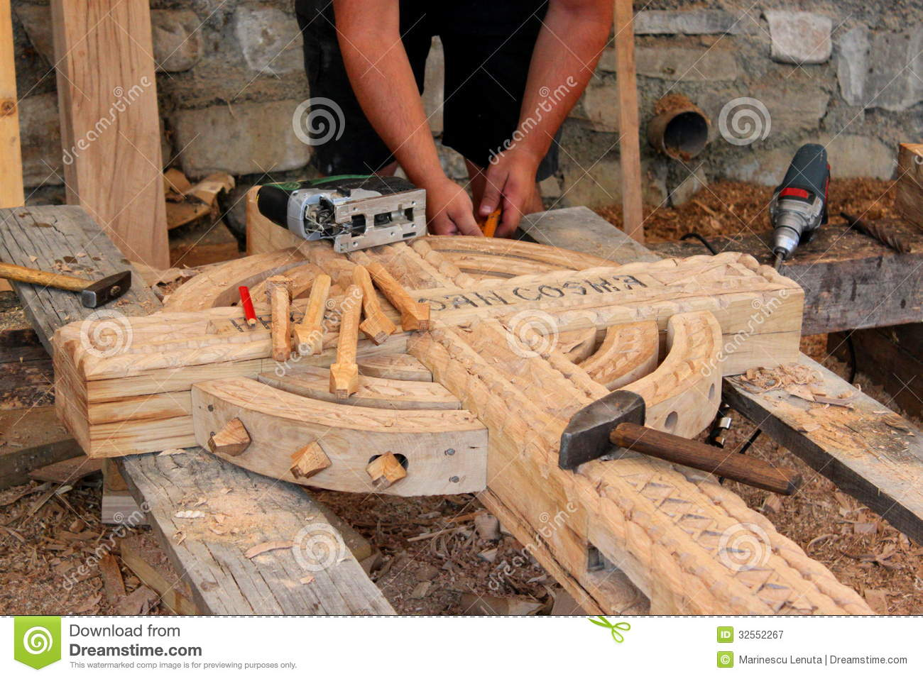 Craftsman Carving Wood Royalty Free Stock Photography