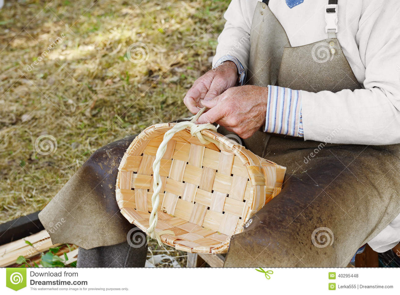 Basket Weaving Process : Craftsman making baskets stock photo image