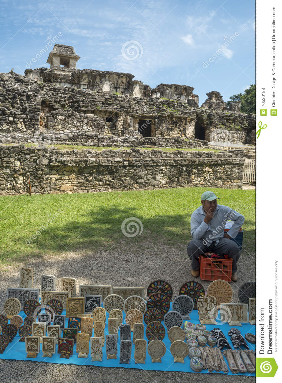 craftsman sells decoration at palenque in mexico editorial stock